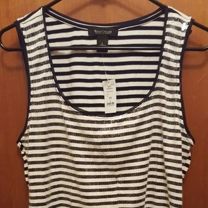 NWT WHBM Striped Sequin Tank Size L
